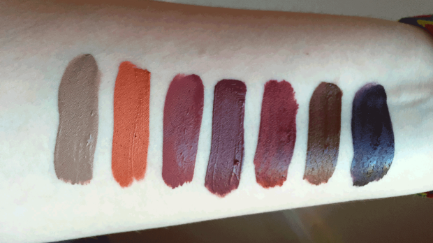 fall favorites liquid lipsticks swatches