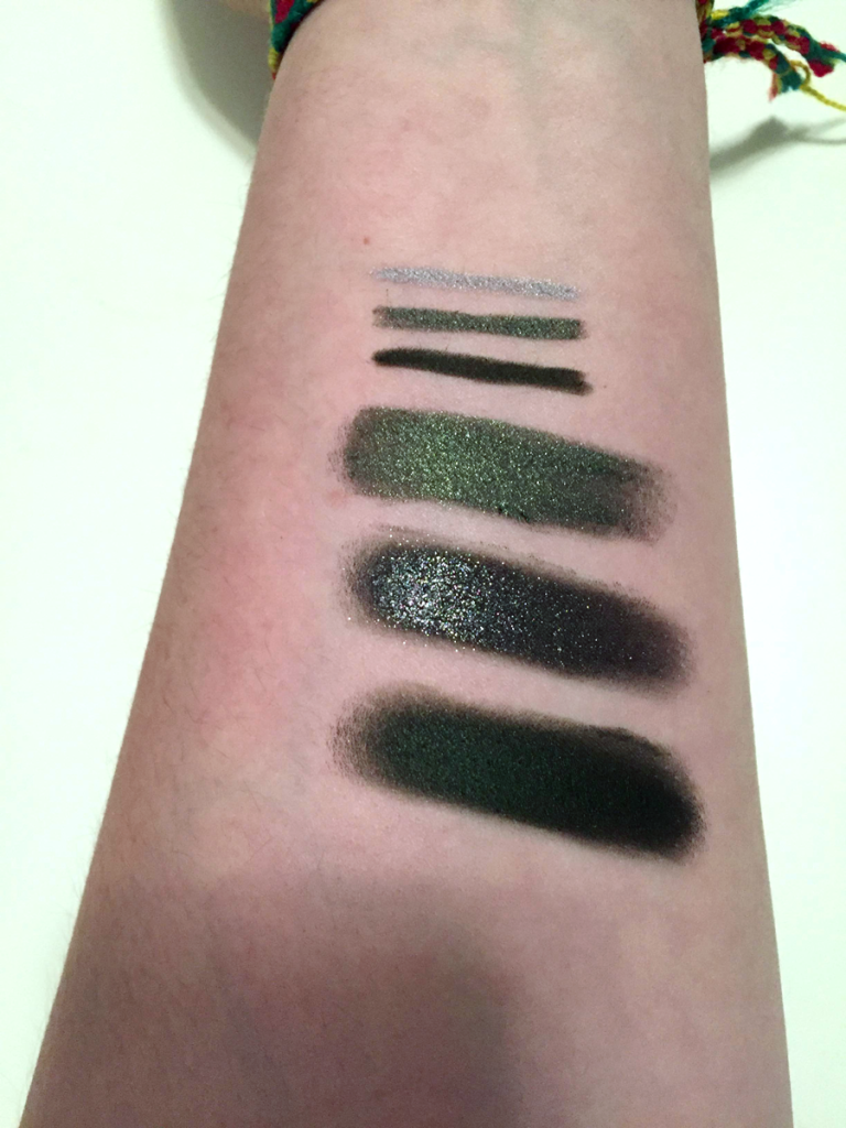 colourpop cosmetics holiday collection gel liner swatches