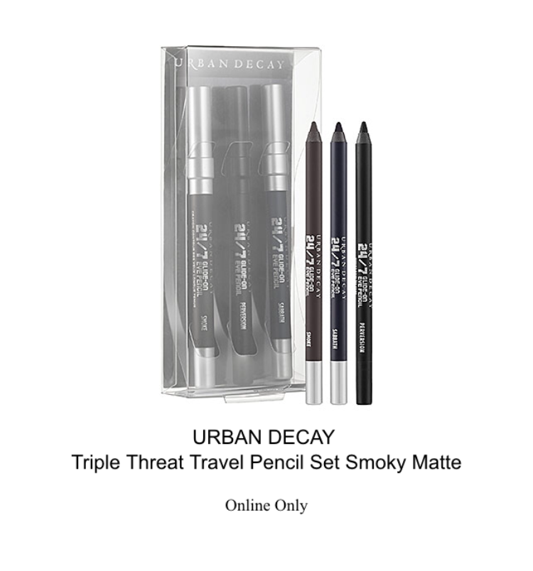 urban decay triple threat travel pencil set smoky matte