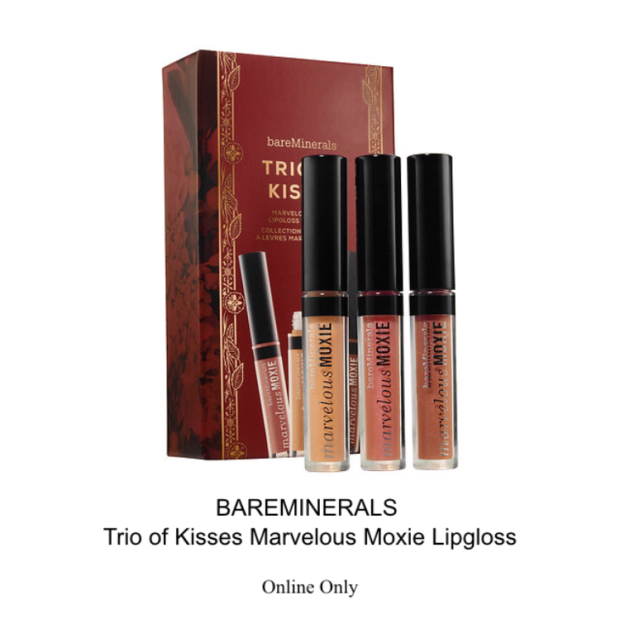 bareminerals trio of kisses marvelous moxie lipgloss