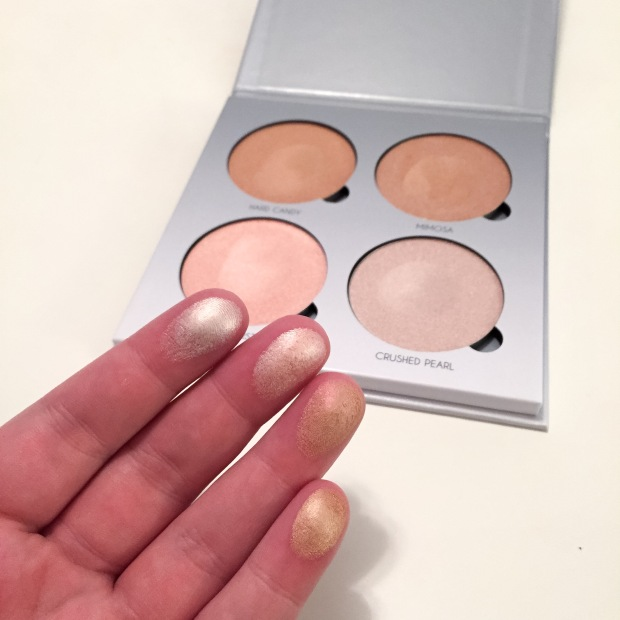 anastasia beverly hills gleam glow kit finger swatches