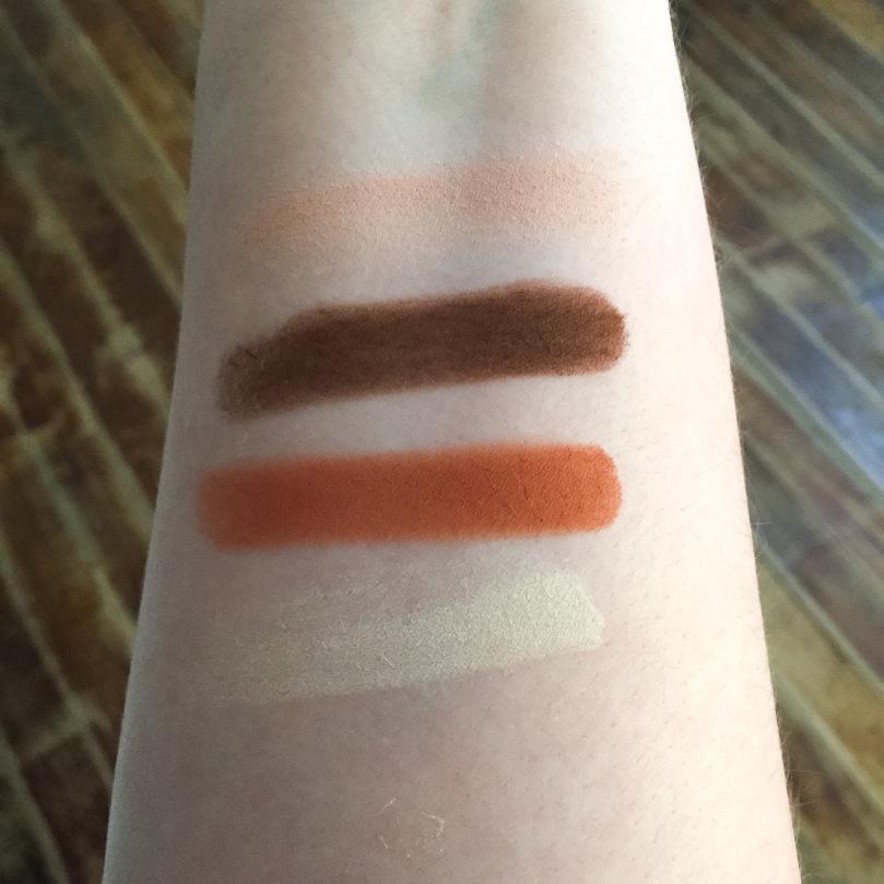 kat von d shade and light eyeshadow rust swatches