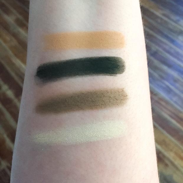 kat von d shade and light eyeshadow sage swatches