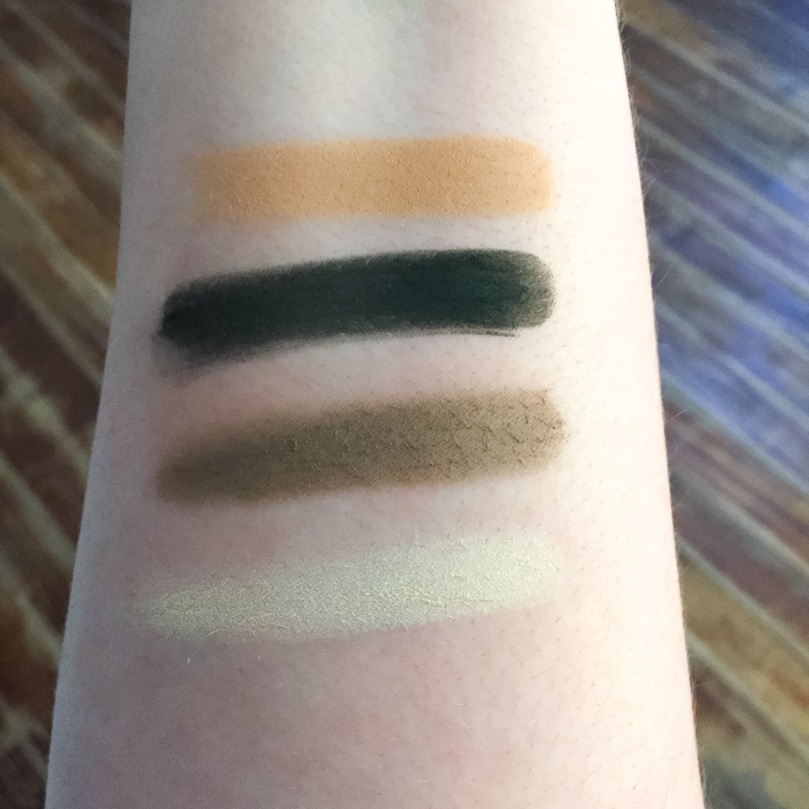 kat von d shade and light eyeshadow sage swatches