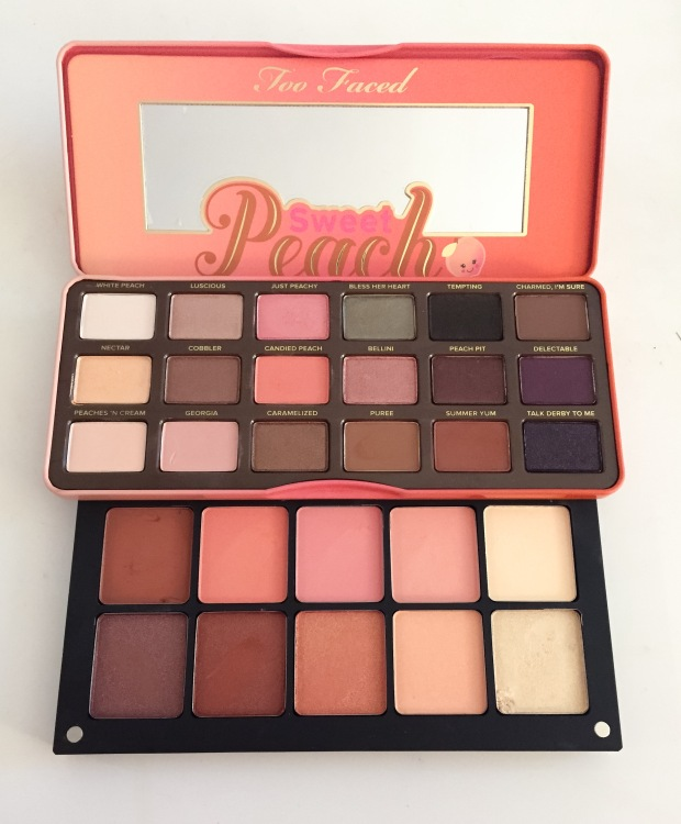 too faced sweet peach versus inglot custom peach palette