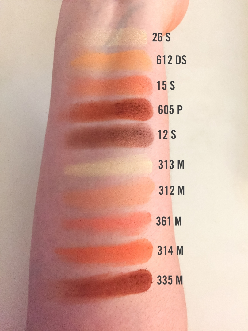 inglot peach palette swatches